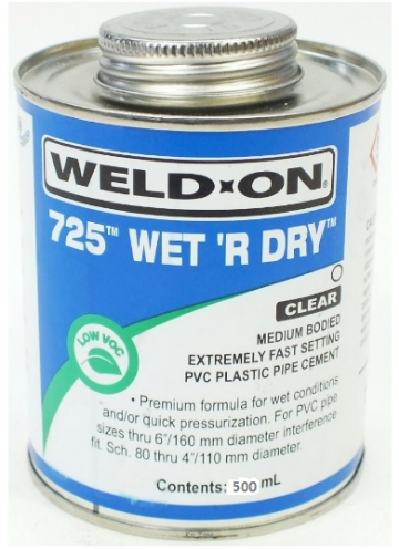 Weld-On 725 Wet R Dry Solvent Cement - 500ml for Swimming Pool Pipework